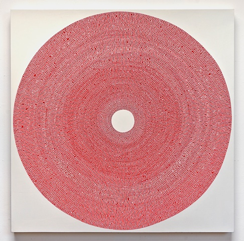 circle, repetition, shape, minimal, abstract, geometric, collaged painting, acrylic, tape