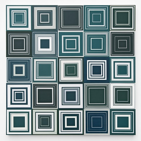 Square, abstract, minimal, shape, repetition, geometric, squares, turquois, green