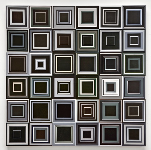unmeasured, squares, collaged painting, square, black and white, shape, abstract, minimal, repetition