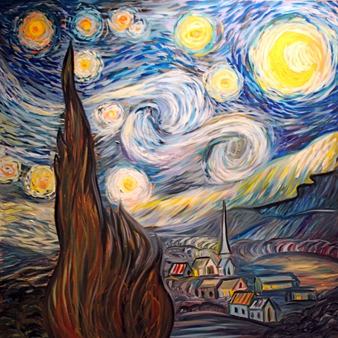 "Replica Painting of Vincent Van Gogh's ""Starry Night"" Oil on Canvas 4x4 Feet (Sold)"