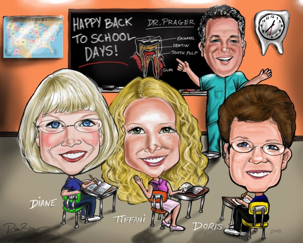 4 Person Full Color Group Caricature