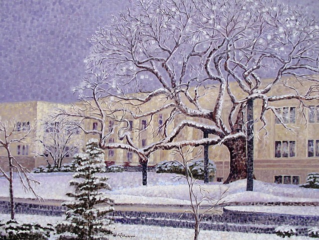 The historic Elm tree in front of the Douglas County OR. Courthouse, in the snow