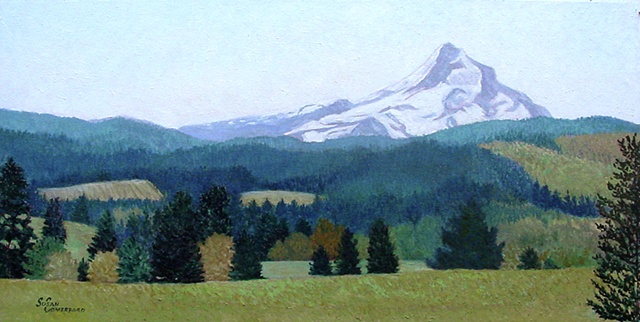 A view of Mount Hood from Hood River, Oregon