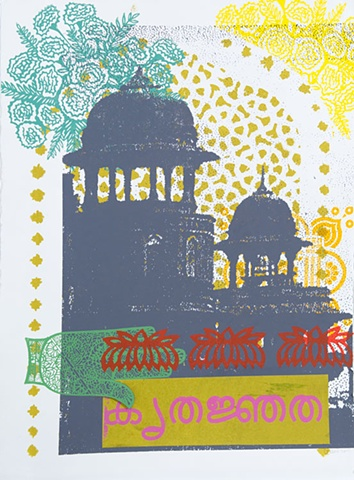 Travel in India: Mixed Media Relief Print on Paper