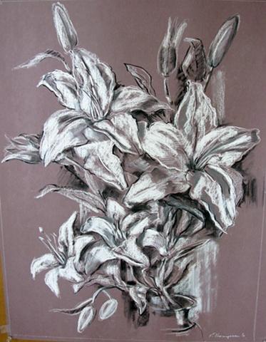 Lilies on Mauve