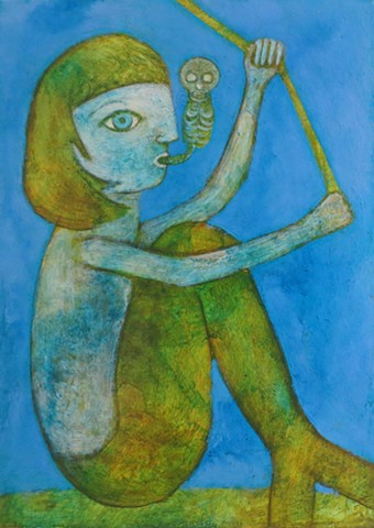mermaid in ocean sea water fishing for land animals with fish bones in her mouth green blue Portland acrylic painting