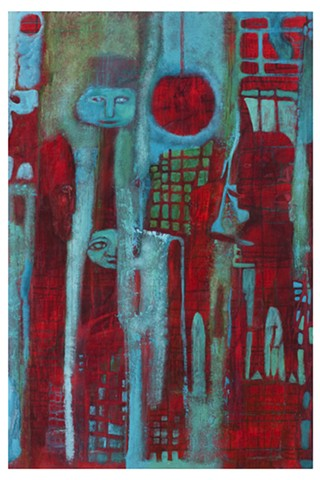 red devils tongue turquoise grid expressive abstract Portland artist Cathie Joy Young