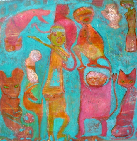 green pink cats creatures figures expressionism Portland mouse saturation catfish