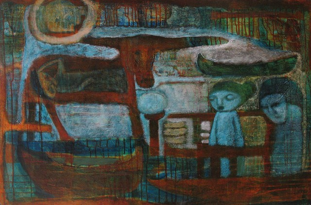 sacred cow, birth, boat, figures, expressionism, Portland artist Cathie Joy Young