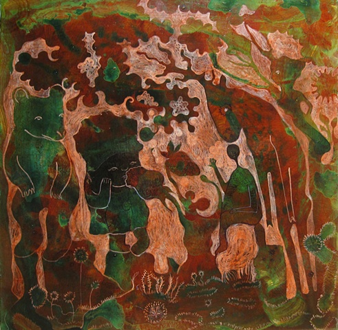 "Strawberry, Forest, ""mixed media, bear, deer, stag, figures, red, green"