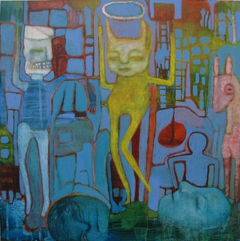 "dance, painting, expressionism, devils, blue, red, acrylic, ""cathie joy young"""