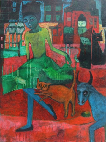 Dancing for Ivan Generalic farm Croatia cat owl figures girl gypsy skirt green Portland artist Cathie Joy Young music flute red black