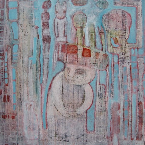 balance white painting figures hat boat grid acrylic aqua skull candy Portland artist Cathie Joy Young