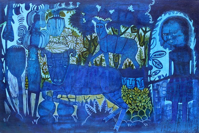 blue animals and looming figure expressionism NW art