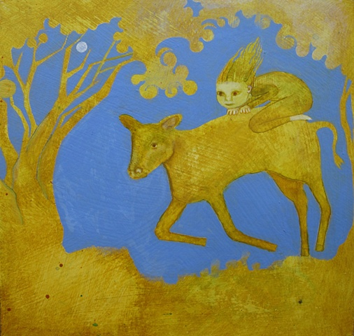 calf, golden, periwinkle, girl, child, riding, trees, painting, acrylic