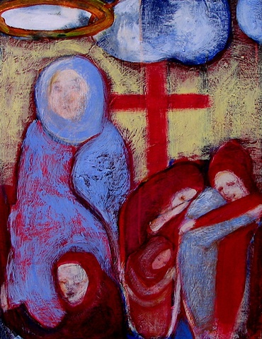 figures expressionism blue red yellow christ Mary crucifixion Jesus religion