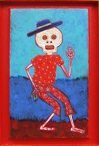 """day of the dead"" skeleton figure dancing blue red turquoise skull Portland"