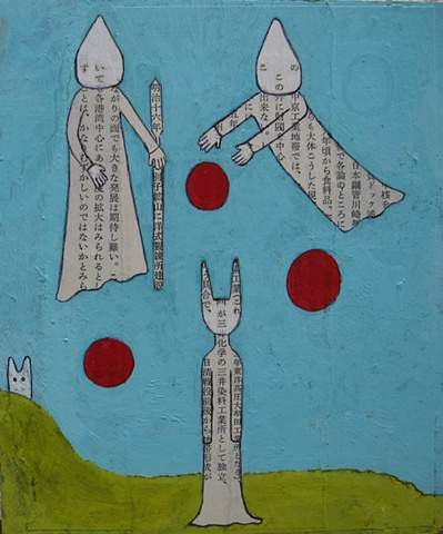 neighbors, ghosts, red, green, blue, figures, painting, balls, collage paper