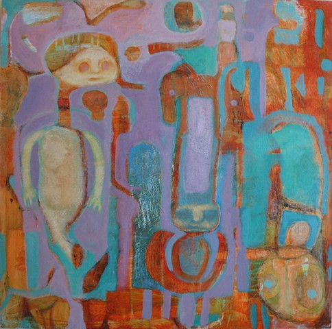 Purple orange figures bodies beasts expressionism turquoise