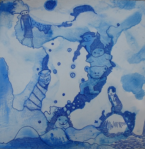 blue pen ink ballpoint pen figures sky clouds landscape animals
