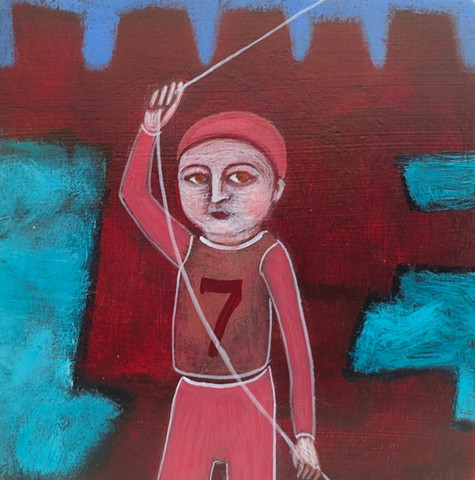 boy in Akko Acre with kite and seven pink red ramparts acrylic painting tiny Portland