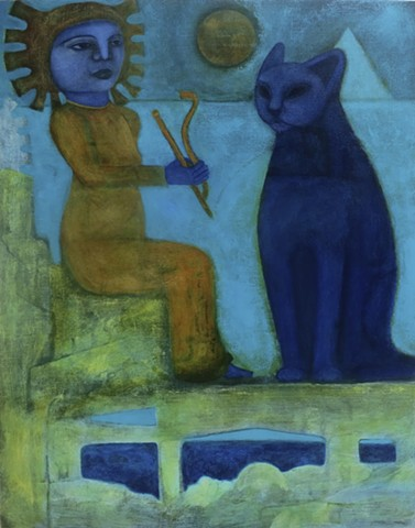 Egypt cat figure queen blue gold worship acrylic painting water expressionism