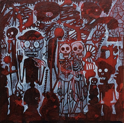 red day of the dead painting skeletons