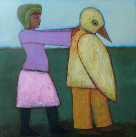 woman and duck goose doctor man in field pushing yellow pink green gold dark boots hat acrylic painting