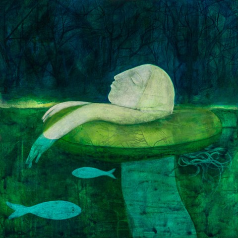 Ophelia on an inner tube in a green lake river forest profile statue figure woman acrylic painting Portland