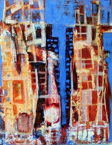 """twin towers"" destruction 911 buildings blue cobalt gold rust red expressionism"