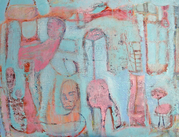 abstract blue pink figures texture expressionism