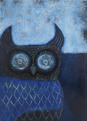 Dark Blue Owl at the blue lake waiting acrylic painting Portland