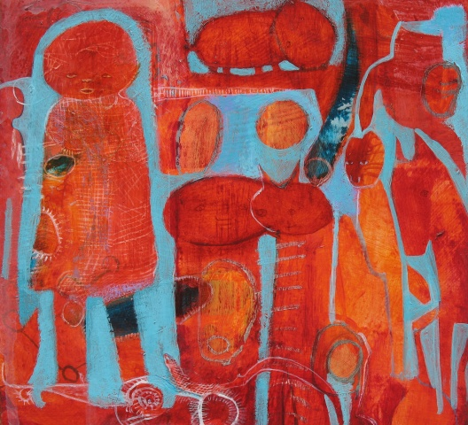fair, red, turquoise, mystery, figures, expressionism