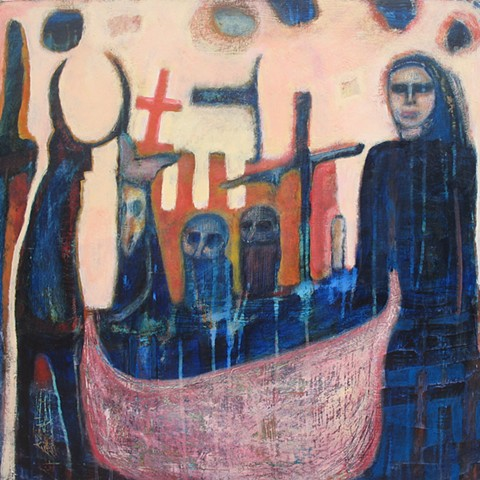 medieval ships priests beasts leaving expressionism blue orange boat pink