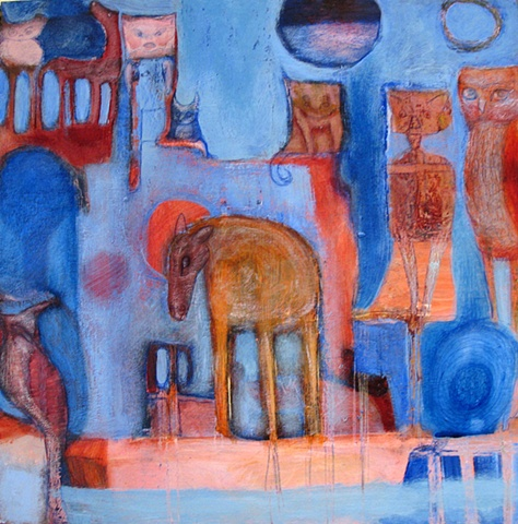 blue rust pink expressionism figures animals beasts