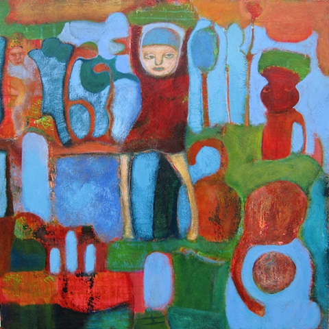 figures, fruit, expressionism, red, orange, blue , saturation, Portland, art