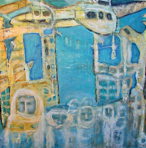 aeroplanes planes buildings figures expressionism abstract blue gold white