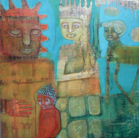 Mayan Calendar painting Portland gold green blue artist Cathie Joy Young