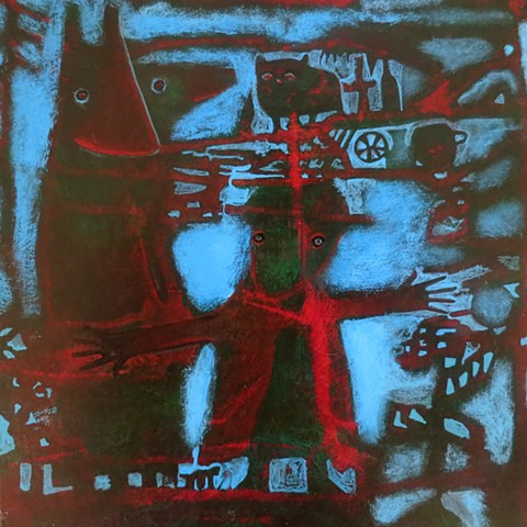 expressionism red green blue black figures hats hands structure acrylic painting Portland