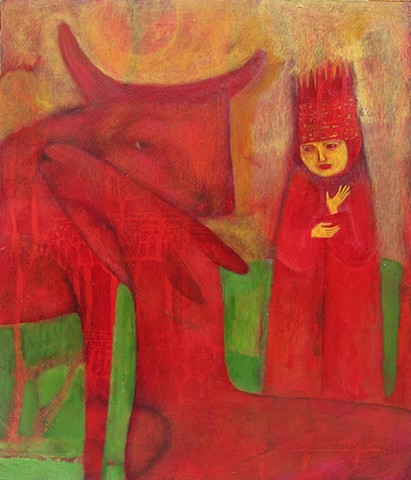 painting, bird, figures,animals,red, gold, sacred, priests, beasts, expressionsim