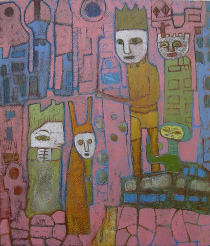 prince vendosur determined figures pink blue texture medieval royalty clergy architecture painting Portland artist Cathie Joy Young