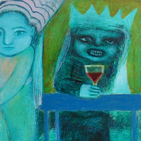 More wine called the old queen in a medieval pub with a wench red and green castle ramparts acrylic painting Portland