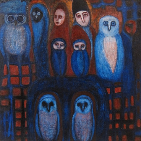 owls painting, acrylic red blue expressionism structure Portland
