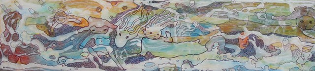 sea ocean under water mermaids fish sea creatures ballpoint pen and acrylic painting Portland