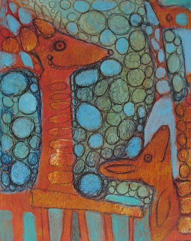 figures animals pattern abstract painting green orange blue aqua