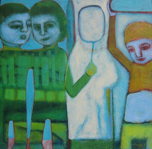 mirrors, figures, expressionism, twins, blue, Portland artist Cathie Joy Young