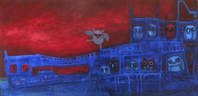 ship of owls on dee blue sea in blue boat with red sky acrylic painting Portland