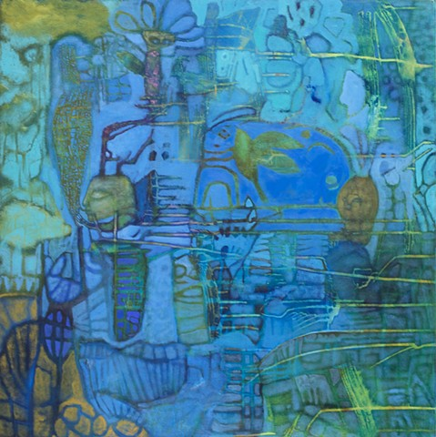 birds bees garden blue art expressionism honey Portland gold