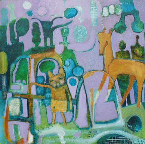 purple violet green camping nature abstract figures horse cat expressionism