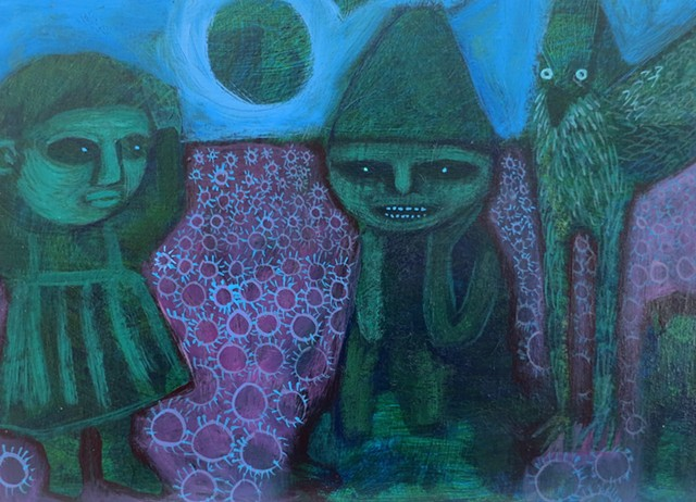 green and purple field with figures